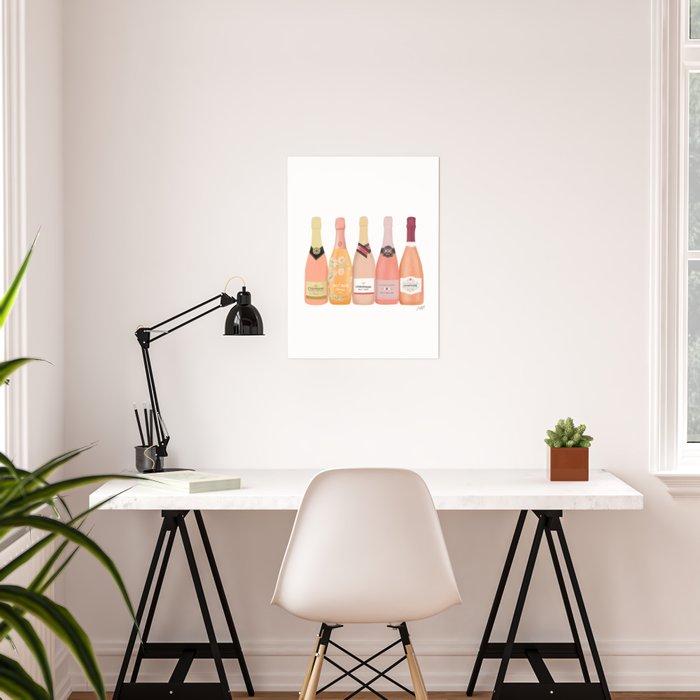Rose Champagne Bottles Poster