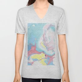 Abstract pastel pink blue teal yellow watercolor marble Unisex V-Neck
