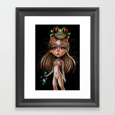 Little Lady and the Tree Frog Framed Art Print