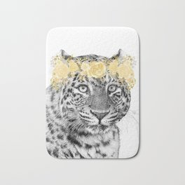 Leopard With Gold Flower Crown Bath Mat