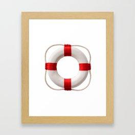 White-red lifebuoy, isolated on white background Framed Art Print