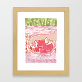 Sleepy Happy Foxes Framed Art Print