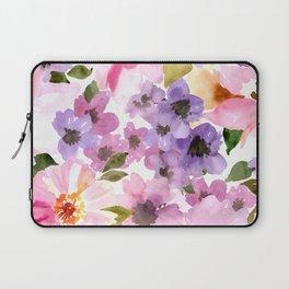 Pink Purple Watercolor Flowers Laptop Sleeve