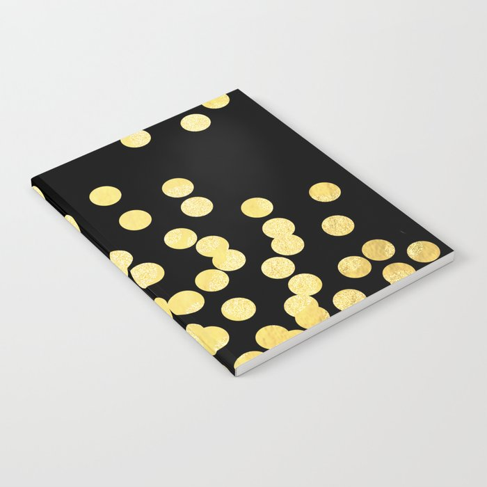 Cruz - Gold Foil Dots on Black - Scattered gold dots, polka dots, dots by Charlotte Winter Notebook