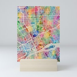 Detroit Michigan City Map Mini Art Print