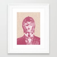 c3po Framed Art Prints featuring C3PO by NJ-Illustrations