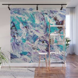 Purple turquoise blue abstract mermaid brushstrokes acrylic painting Wall Mural
