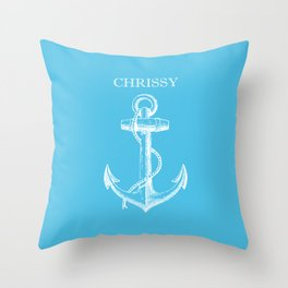 Chrissy Anchor - Blue Throw Pillow