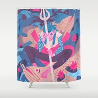 pisces Shower Curtains featuring Pisces by Greg Wright
