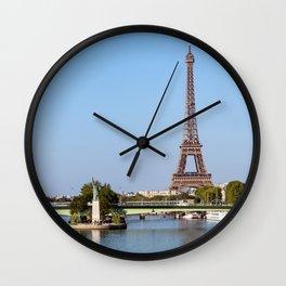 Front de Seine and Eiffel tower - Paris, France Wall Clock