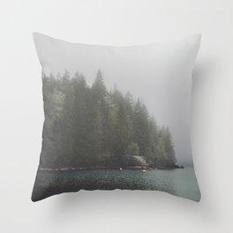 Foggy morning at the lake Throw Pillow