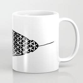 Black and White Patterned Feather Coffee Mug