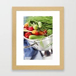 Fresh vegetables in metal colander with blue napkin Framed Art Print