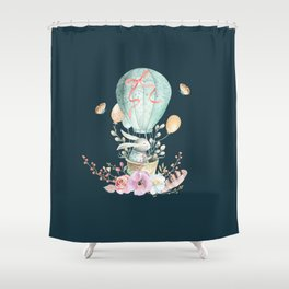 Whimsical Bunny in a Balloon Watercolor Design Shower Curtain