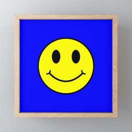 Smiley Happy in yellow color on a blue background - EFS162 Framed Mini Art Print