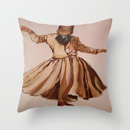 The Remembrance of Allah - A Sufi Whirling Dervish Throw Pillow