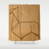 llama Shower Curtains featuring Origami - Llama by Fernando Vieira