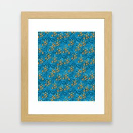 Pattern with orange water flowers on blue background Framed Art Print