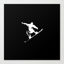 Snowboarding White Abstract Snow Boarder On Black Canvas Print