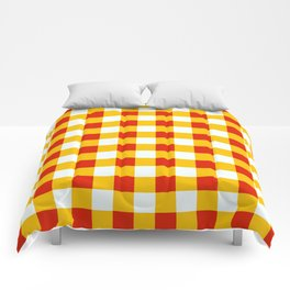 Red White Yellow Checkerboard Pattern Comforters