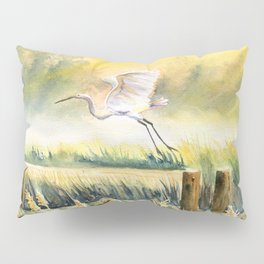 Egret Flying Over Marsh  Pillow Sham