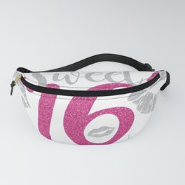 Sweet Sixteen 16 Birthday Glitter Lips Typography Fanny Pack
