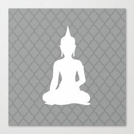 Grey and White Buddha Canvas Print