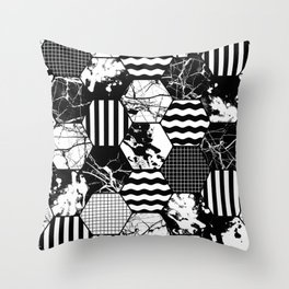Hexual - Black and white, honeycomb, hexagon pattern, stripes, paint splats, grid and marble Throw Pillow