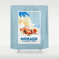 grand theft auto Shower Curtains featuring Grand Prix Monaco 1937 by aapshop