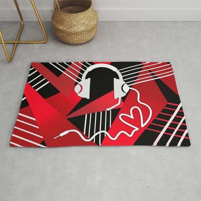 Red Love Gamer Headset Rug