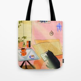Well-Read Coffee Cat Tote Bag