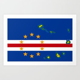 Cape Verde Flag with Map of the Cape Verde Islands Art Print