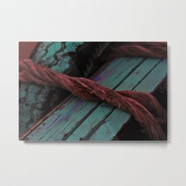Red rope wrapped around wooden boat used on the river Ganges Metal Print