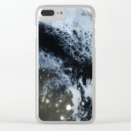 Moon / Black and white fluids Clear iPhone Case