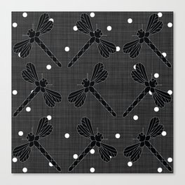 Black and White Dragonflies Canvas Print