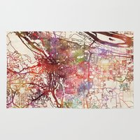 portland Area & Throw Rugs featuring Portland by MapMapMaps.Watercolors