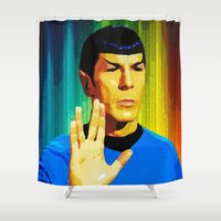 spock Shower Curtains featuring Spock by The Art Of Gem Starr