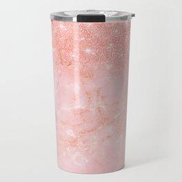 Blush Star Glitter on Marble Travel Mug