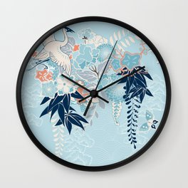 Japanese Kimono Motif With Crane Wall Clock