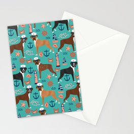 Boxer nautical sailor costume custom pet portrait dog breeds by pet friendly boxers dogs Stationery Cards