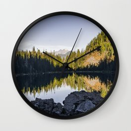 Shadows and Reflections at Lake 22 Wall Clock