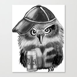 owl with soda and cap Canvas Print