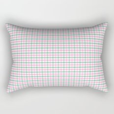 Gingham pink and forest green Rectangular Pillow
