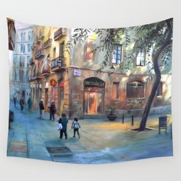 Urbanscape of Barcelona Wall Tapestry