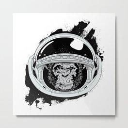 Space Monkey Black & white Metal Print