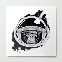 Space Monkey Black & white Metal Print