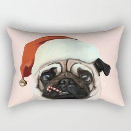 Santa Pug Rectangular Pillow