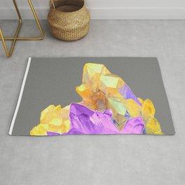 BOHO YELLOW & PURPLE QUARTZ CRYSTALS GREY ART Rug