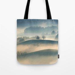 Foggy Hills Tote Bag