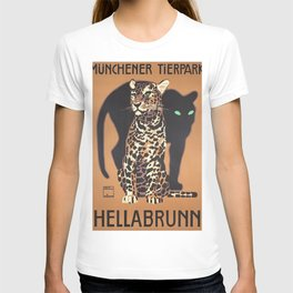 1912 Munich Zoo Green-Eyed Leopold Vintage Advertising Poster T-shirt